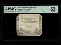 France:P-A70b,50 Sols,1793 * CDomaines Nationaux * PMG UNC 62 *