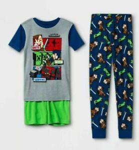 Minecraft Boy's Pajamas Size- 6  - 3 Piece Shirt Shorts Pants NWT