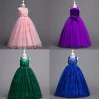 Wedding Flower Girl's Dress Party Prom Princess Pageant Kids Long dress Formal