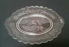 1776-1976 Avon Clear Bicentennial U,S of America Plate Bread Tray-Raised Eagle