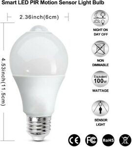 BRTLX PIR Motion Sensor LED Bulb A19 13W E26 3000K Warm White Auto On/Off 2 Pack