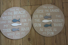 WOOD HANGING SIGN, BEACH THEMED  CIRCULAR  CHOICE OF 2 , FISH MOTIFS,WITH QUOTES