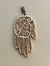 Vintage Hamsa 14K Yellow Gold Filigree Pendant 4.7 Grams