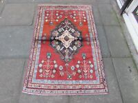Vintage Hand Made Traditional Oriental Wool Red Blue Small Rug 157x100cm