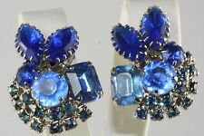 VTG OLD STORE STOCK JULIANA BLUE RHINESTONE CLIP EARRINGS