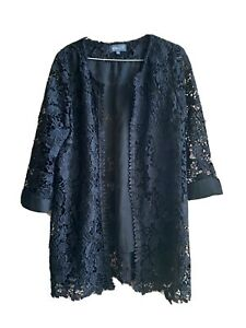 BEAUTIFUL APRICOT BLACK FLORAL LACE JACKET WITH LINING Size 12 lightly Worn