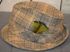VTG Pendleton Virgin Wool Hat Bucket Fedora Tan Plaid Green Black Feathers 7 1/8
