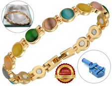 Ladies Magnetic Armband Multicolour Faux Stones Health Bangle Therapy Arthritis