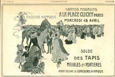 Publicité ancienne concours hippique solde des tapis 1908 issue magazine