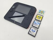 RED NINTENDO 2DS WITH STYLUS AND FOUR GAMES ANIMAL CROSSING, UP & MORE - TESTED