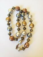 Vintage Large Faux Baroque Pearl Necklace Gold Etruscan Spacer Beads