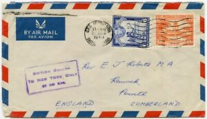 BRITISH GUIANA to NEW YORK ONLY BY AIRMAIL BOXED KG6 to PENRITH GB 1948