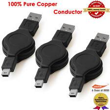 3-Packs, USB - MINI B RETRACTABLE CORD CABLE FOR GARMIN NUVI GPS