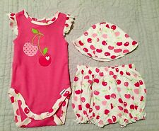 NWT GERBER 3 piece Outfit- Hat, one piece Snap Top, Shorts, Newborn