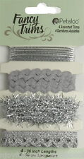 SILVER Sparkle GLITZ Trim Packs 4 Asst Styles 90cm Ea CHRISTMAS Colours Petaloo