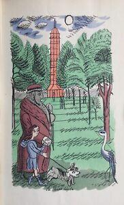 1930 Original EDWARD BAWDEN 'Adam & Evelyn at Kew'  Pochoir Colour Plate