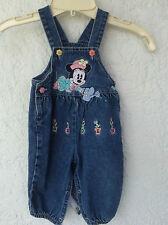 Infant Disney Minnie Embroidered & Appliqué Garden Jeans Overalls 6/9 Months (Fc