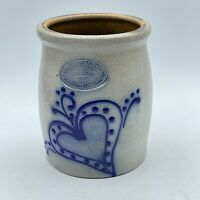 Beaumont Brothers Pottery Salt Glazed Folk Stoneware Crock Blue Heart 1991