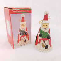 Vtg 90s Santa Claus Hand Painted Porcelain Christmas Holiday Bell Ornament