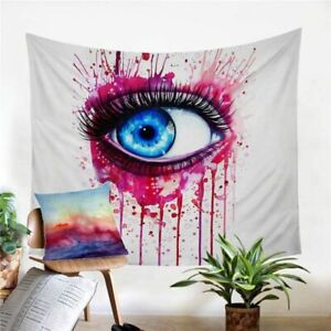 Rainbow Fire By Pixie Cold Art Tapestry Printed Curtain Watercolor Bedspreads