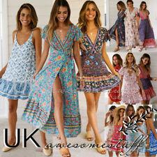 UK Womens Floral Paisley Summer Beach Holiday Maxi Wrap Slip Boho Sun Dress 6-18