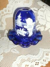 Fenton Art Glass Cobalt Four 4 Seasons Fairy Light Skating Party 5980 F1 NIB