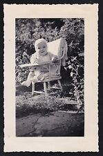 Antique Vintage Photograph Adorable Baby Sitting in Chair in Backyard
