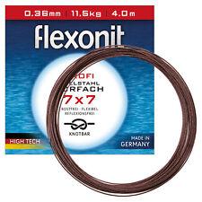 1x7 4m 0,21mm 4,1kg Flexonit Stahlvorfach Angeln Meterware 1,49EUR//m