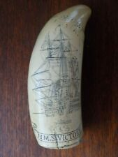 "Scrimshaw Replica Whales Tooth ""H.M.S Victory"" (6 inches)"