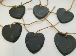 6 Pack Rustic Heart Shaped Slate With Twine Wedding Decor Flower Garden Labels
