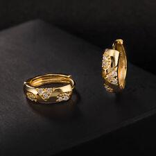 LFashion yellow gold filled clear Crystal Womens Hoop Huggie Earrings Jewelry