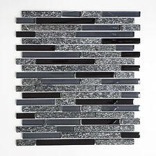KEM Mosaik Mosaikmatte Verbund Crystal/Stein mix grau/schwarz 298 x 338 mm