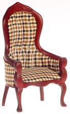 Dollhouse Miniature Victorian Chair Brown Check Handley CLA10702 1:12 Scale
