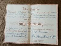 Vintage State of Kansas Cherryvale Marriage Certificate Holy Matrimony 1954 Book