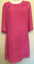 Oasis UK12 EU40 US8 new pink crepe shift dress with 3/4 length sheer sleeves