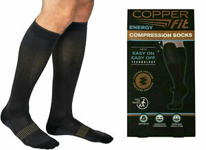 NEW! Copper Fit Unisex 2 PACK Easy-On and Off Knee High Compression Socks | C32