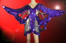 Purple Sequin Butterfly Coat Dance Dress Showgirl Drag Queen Cabaret Costume