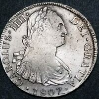 Peru 1807 JP 8 Reale Milled Bust King Charles IIII US First Silver Dollar Coin