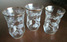 3 Engraved Small Drink Glasses / Tumblers Leaf and Flower Pattern Gold Rim 5 oz.