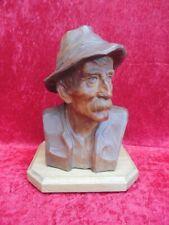 schöne,alte Holzfigur  , Büste , Mann mit Hut , signiert  !