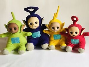 "Vintage Talking Teletubbies Plush Dolls 14"" Lot Of 4"