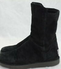 Ugg Black Boots Short Suede Zip Shearling Boots 1009250 Women's Size 7