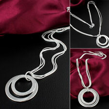 Ladies Chain Silver Plated Jewelry Long Pendant Necklace Double Circles