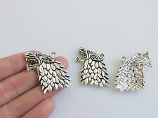 4 Game of Thrones Stark Dire Wolf Charms Pendants For Jewellery Making Findings