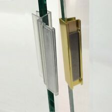 "Polycarbonate U-Channel w/ Magnet & Bright Gold Metal Strike Plate 3/8"" Glass"