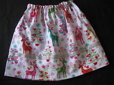 handmade clothes girl skirt christmas multi colour reindeer size 7