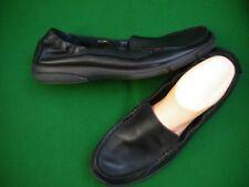 LADIES  NEAR NEW CLOUD COMFORT BLACK LEATHER FLAT HEEL SHOES  SIZE 9/40