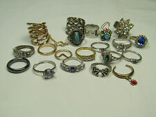 Costume Ring Lot AS IS Gold Silver Tones Blue Purple White Stones