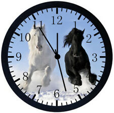 Beautiful Horse Black Frame Wall Clock Nice For Decor or Gifts E355