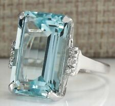 BRAND NEW 10.5 CT Aquamarine Ring~Size 7~925 Sterling Silver~Gift Bag Included